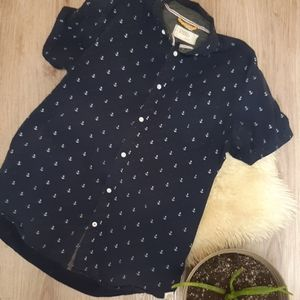 Navy FREE PLANET button down short sleeve